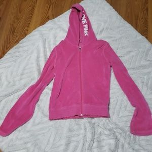 Womens VS Pink velour zippered hoodie medium
